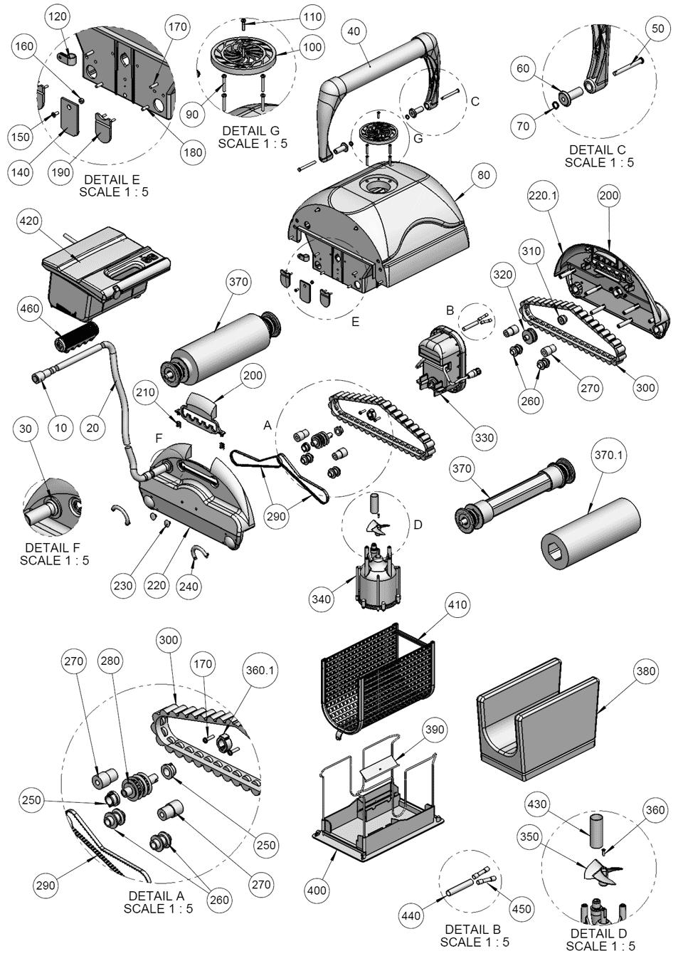 Схема расположения деталей Aquabot Bravo